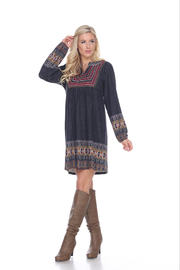 WhiteMark White Mark's Aztec Print Embroidered Sweater Dress - Product Mini Image