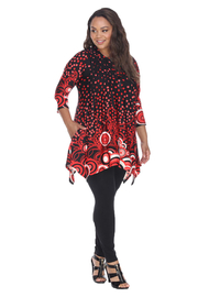 WhiteMark White Mark's Dotty Pleated Front Tunic Top - Front full body