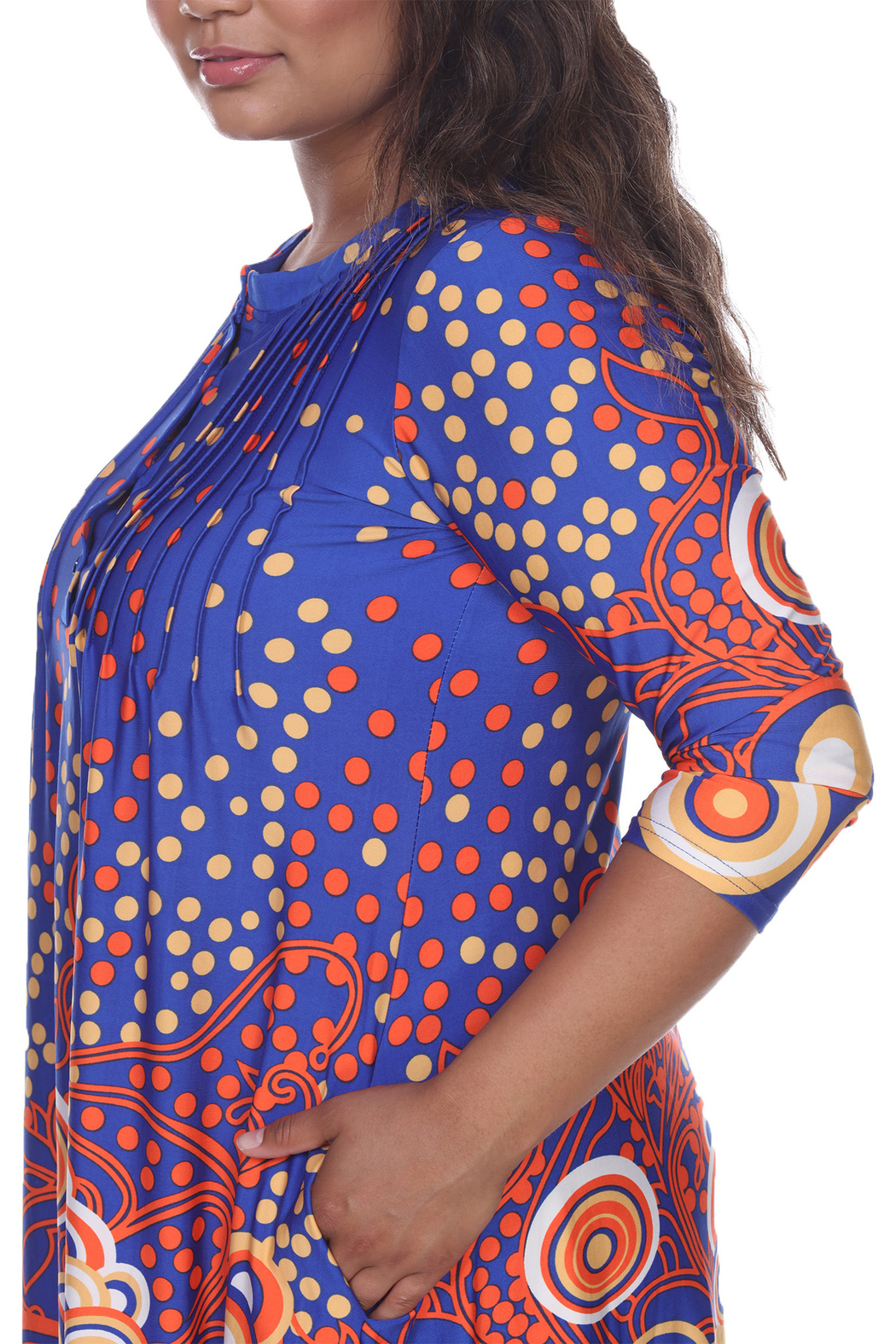 WhiteMark White Mark's Dotty Pleated Front Tunic Top - Front Full Image