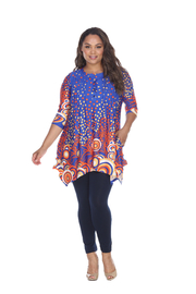 WhiteMark White Mark's Dotty Pleated Front Tunic Top - Front cropped