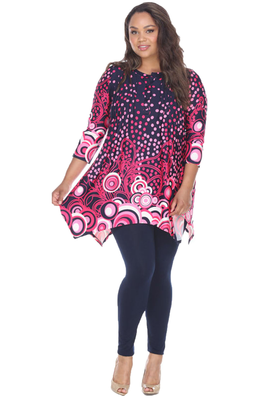 WhiteMark White Mark's Dotty Pleated Front Tunic Top - Front Cropped Image