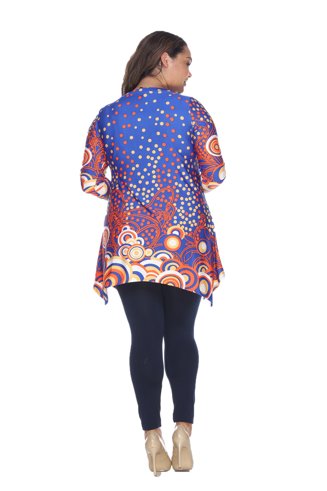 WhiteMark White Mark's Dotty Pleated Front Tunic Top - Side Cropped Image