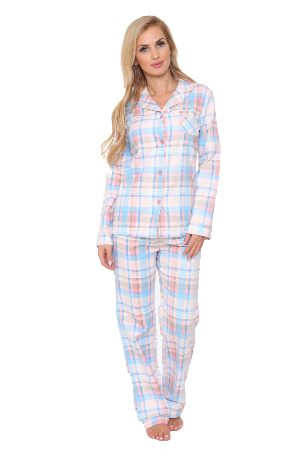 WhiteMark White Mark's Flannel Pajama Set - Front Cropped Image