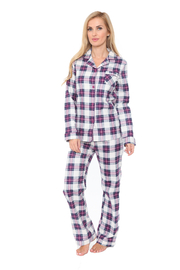 WhiteMark White Mark's Flannel Pajama Set - Front cropped