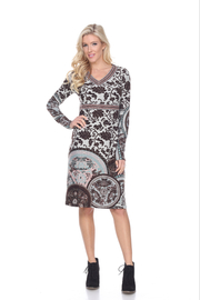 WhiteMark White Mark's Floral Embroidered Sweater Dress - Product Mini Image