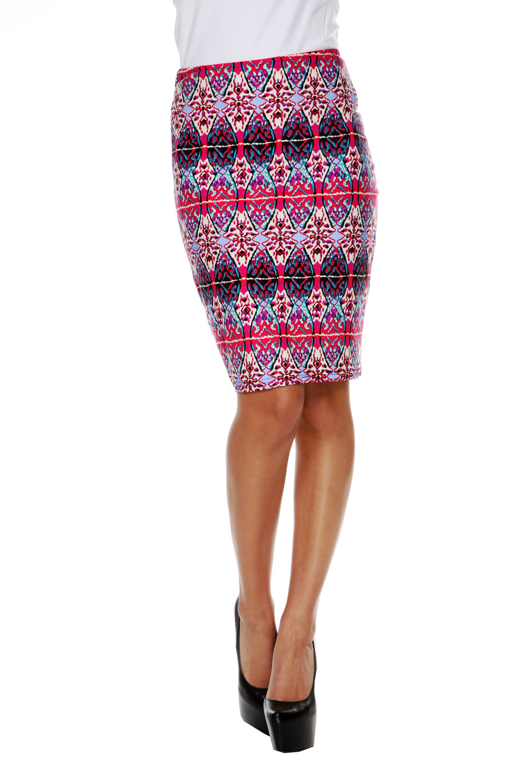 WhiteMark White Mark's Geometric Print Pencil Skirt - Front Cropped Image