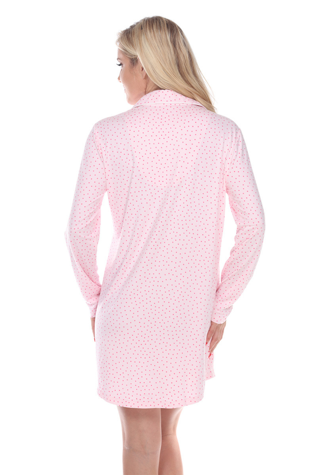 WhiteMark White Mark's Long Sleeve Nightgown - Back Cropped Image