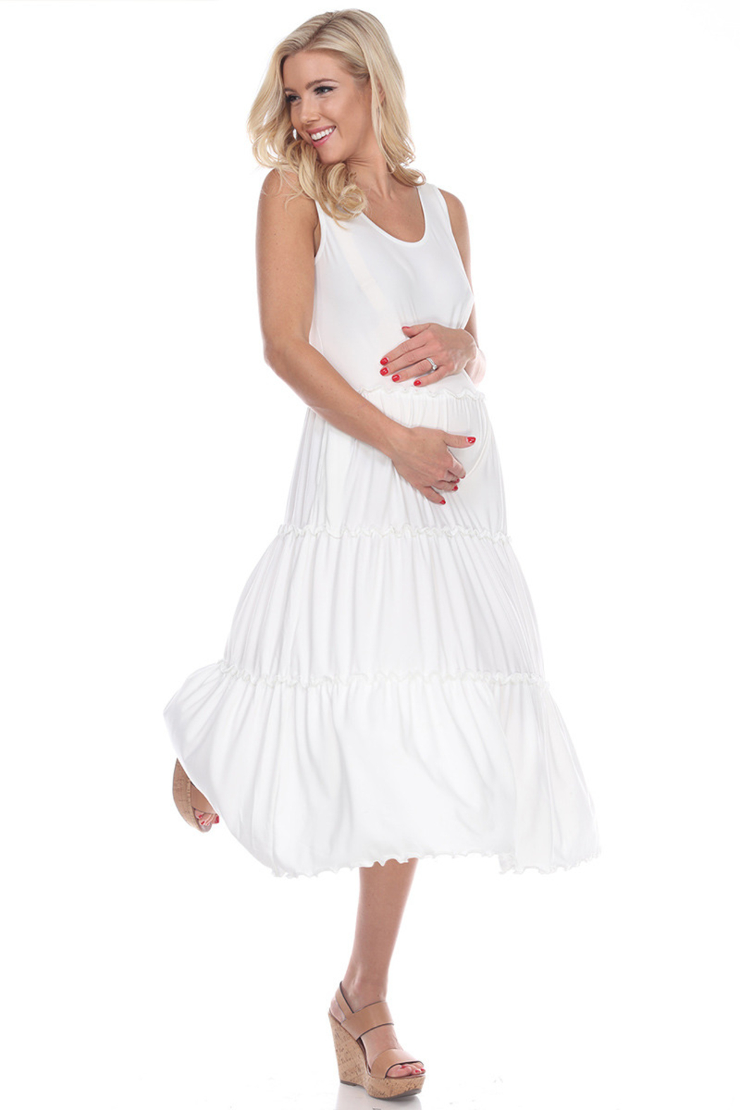 WhiteMark White Mark's Maternity Plus Size Scoop Neck Teired Midi Dress - Front Cropped Image