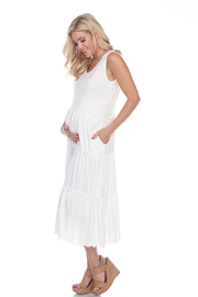 WhiteMark White Mark's Maternity Plus Size Scoop Neck Teired Midi Dress - Front full body