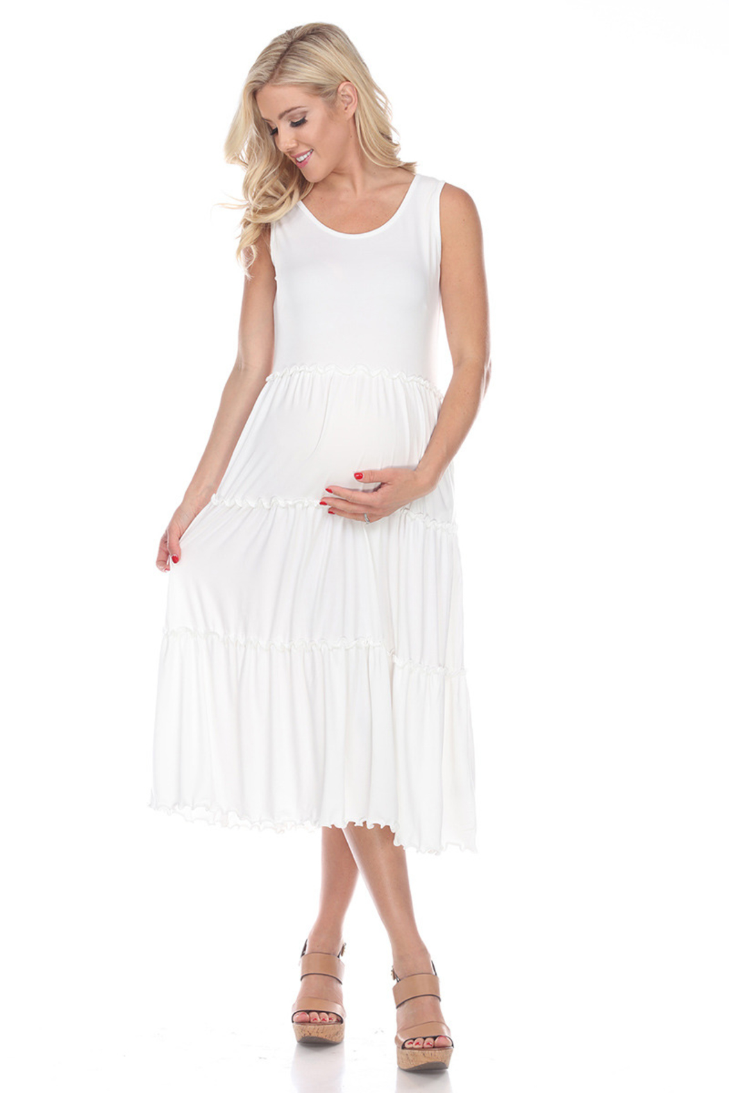 WhiteMark White Mark's Maternity Plus Size Scoop Neck Teired Midi Dress - Side Cropped Image
