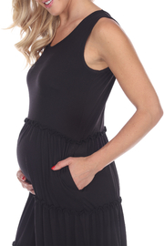 WhiteMark White Mark's Maternity Scoop Neck Tiered Midi Dress - Side cropped