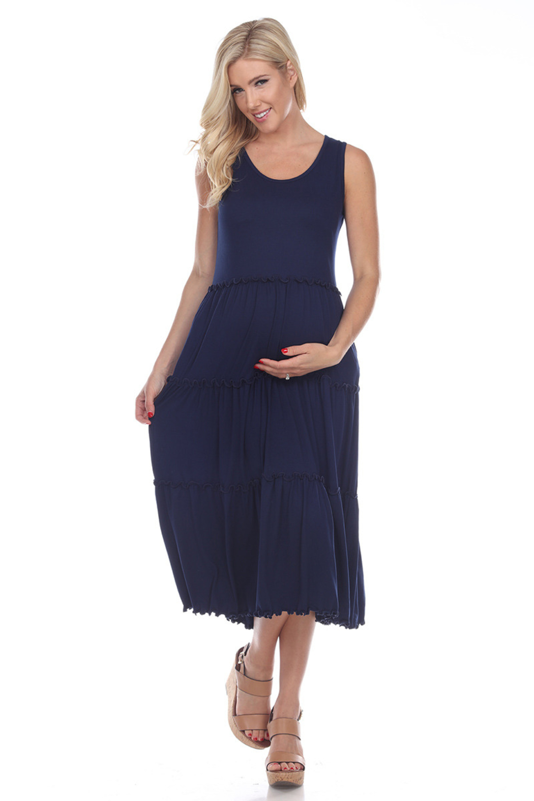 WhiteMark White Mark's Maternity Scoop Neck Tiered Midi Dress - Front Cropped Image
