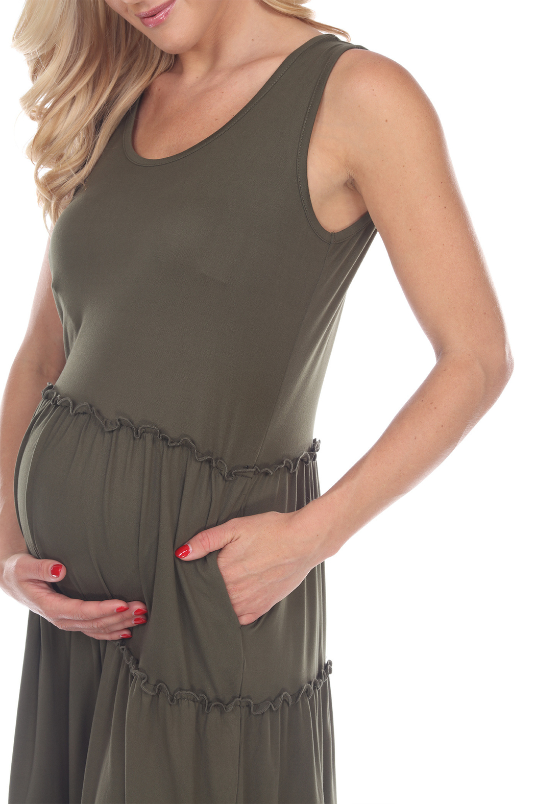 WhiteMark White Mark's Maternity Scoop Neck Tiered Midi Dress - Side Cropped Image