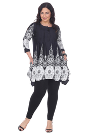 WhiteMark White Mark's Ornate Flower Pleated Front Tunic Top - Product Mini Image