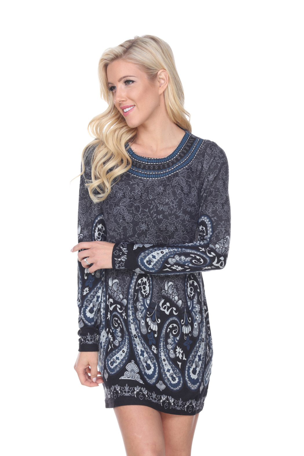 WhiteMark White Mark's Paisley Print Embroidered Sweater Dress - Side Cropped Image