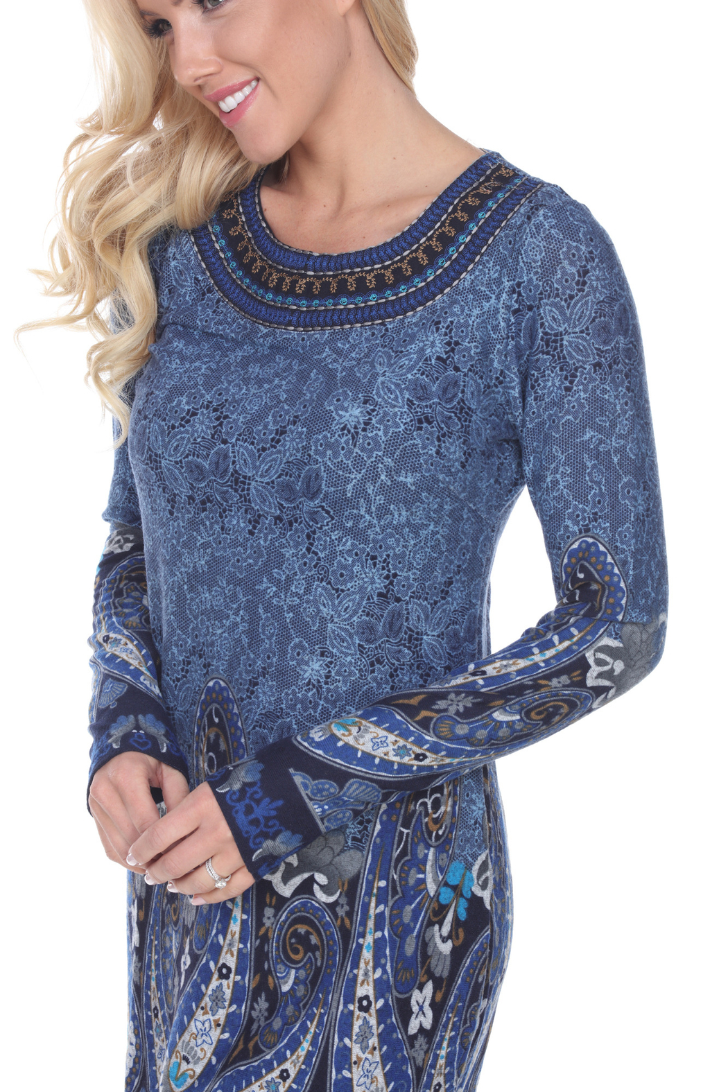 WhiteMark White Mark's Paisley Print Embroidered Sweater Dress - Back Cropped Image