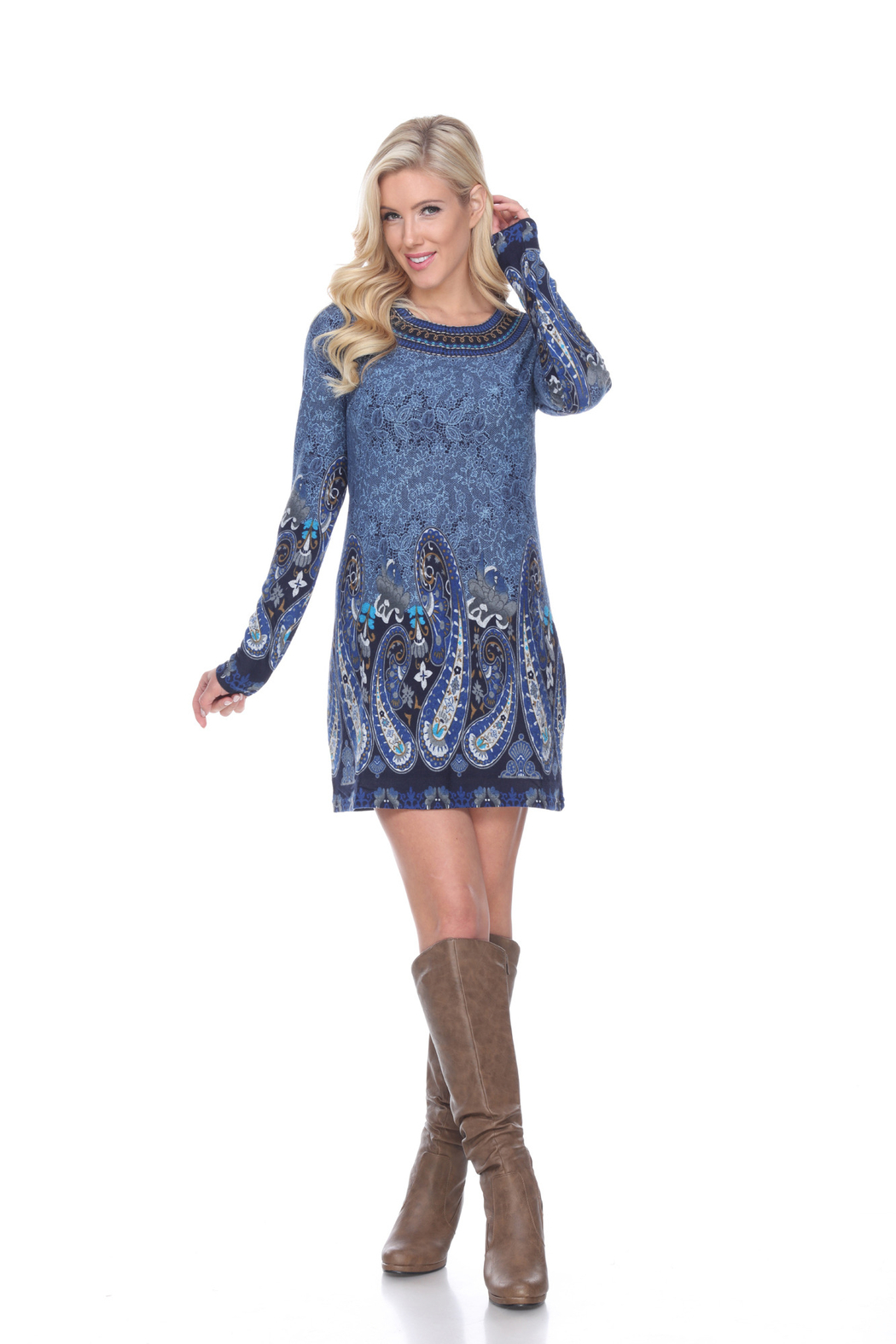 WhiteMark White Mark's Paisley Print Embroidered Sweater Dress - Front Cropped Image