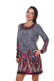 WhiteMark White Mark's Paisley Print Embroidered Sweater Dress - Product Mini Image