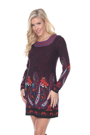 WhiteMark White Mark's Paisley Print Embroidered Sweater Dress - Side cropped