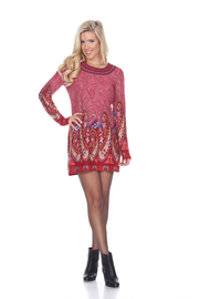 WhiteMark White Mark's Paisley Print Embroidered Sweater Dress - Front cropped