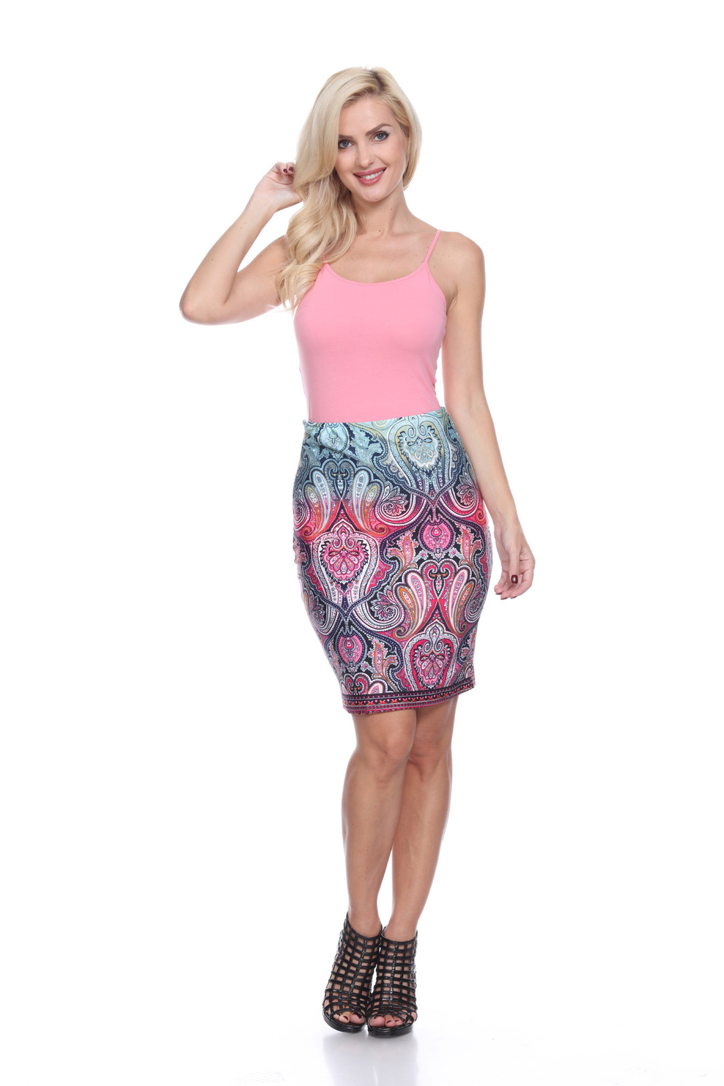 WhiteMark White Mark's Paisley Printed Pencil Skirt - Front Cropped Image