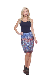 WhiteMark White Mark's Paisley Printed Pencil Skirt - Product Mini Image