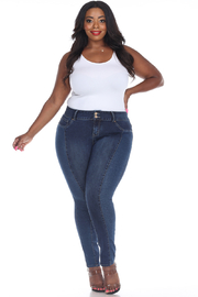 WhiteMark White Mark's Plus Size Leopard Panel Skinny Jeans - Product Mini Image