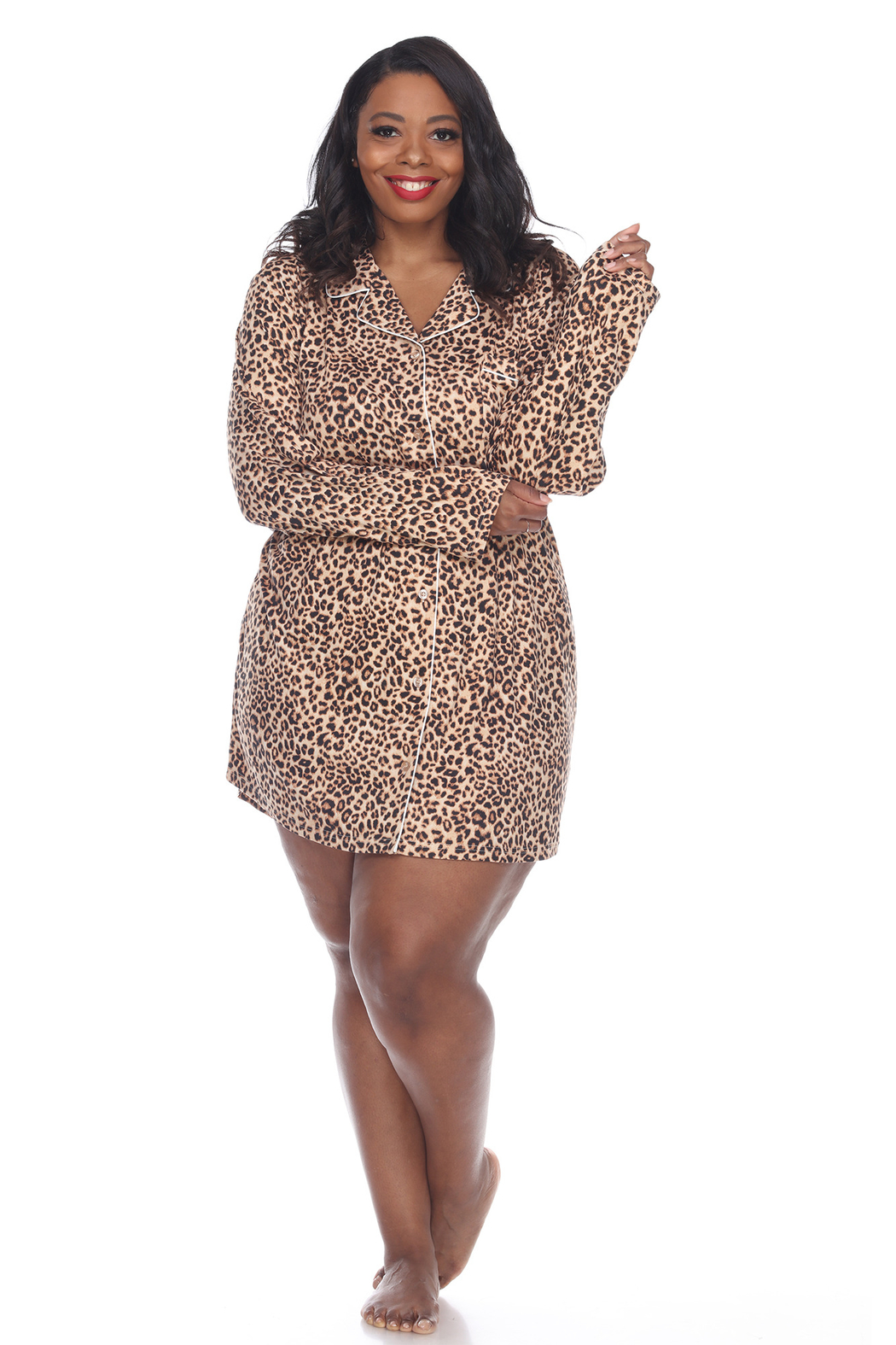 WhiteMark White Mark's Plus Size Long Sleeve Nightgown - Front Cropped Image