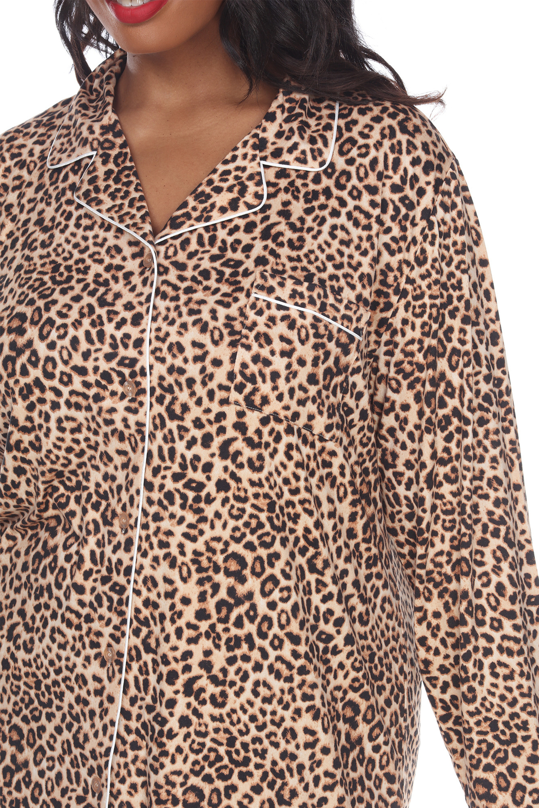 WhiteMark White Mark's Plus Size Long Sleeve Nightgown - Side Cropped Image