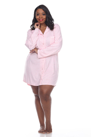 WhiteMark White Mark's Plus Size Long Sleeve Nightgown - Product Mini Image