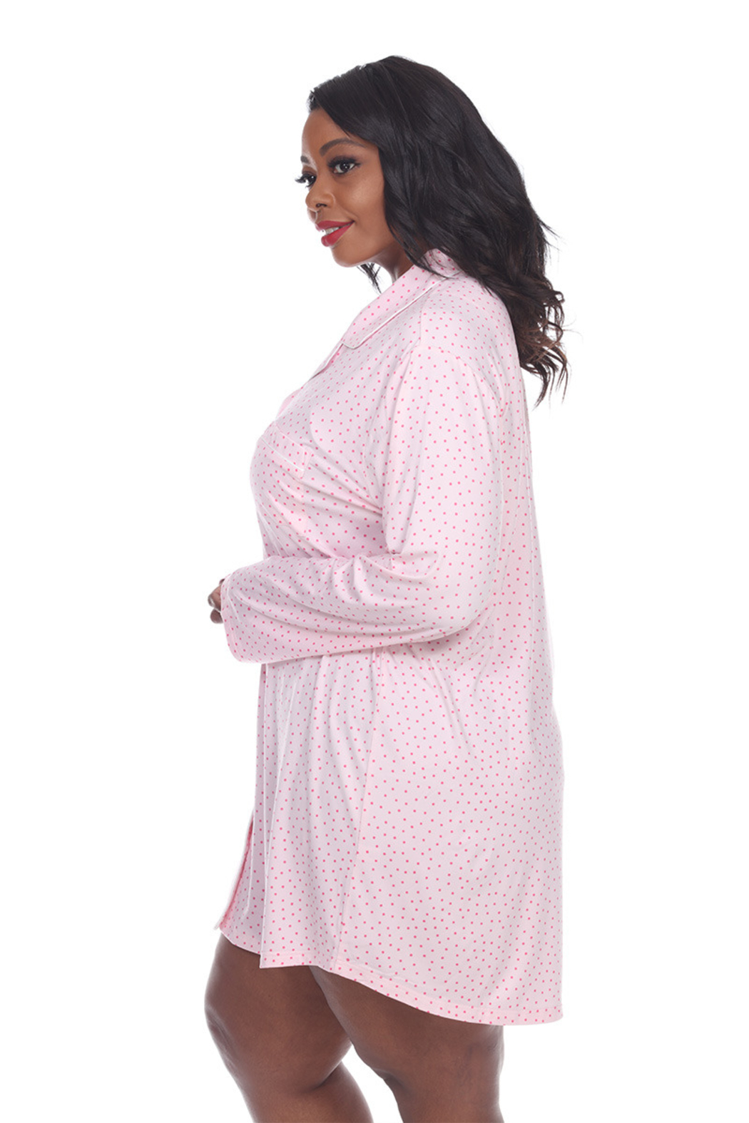 WhiteMark White Mark's Plus Size Long Sleeve Nightgown - Front Full Image
