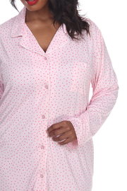 WhiteMark White Mark's Plus Size Long Sleeve Nightgown - Back cropped