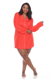 WhiteMark White Mark's Plus Size Long Sleeve Nightgown - Front cropped