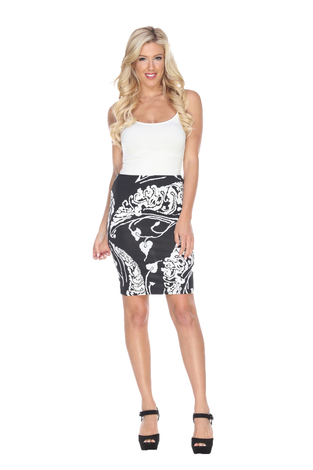 WhiteMark White Mark's Printed Pencil Skirt - Front Cropped Image