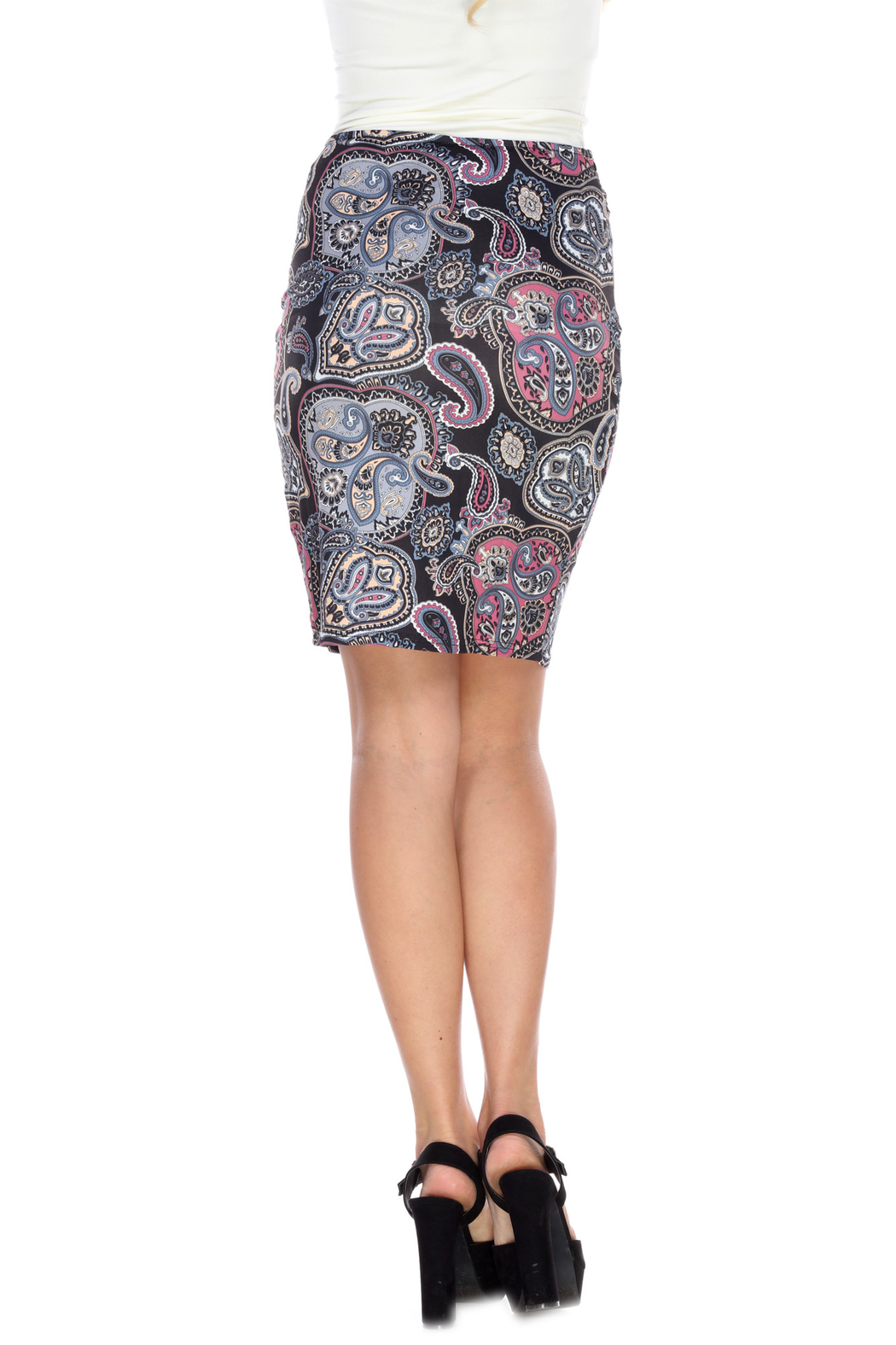 WhiteMark White Mark's Printed Pencil Skirt - Side Cropped Image