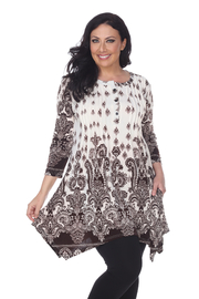 WhiteMark White Mark's Printed Pleated Front Tunic Top - Product Mini Image