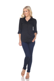 White Mark  White Mark's Skylar Stretchy Button-Down Top - Product Mini Image