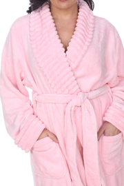 WhiteMark White Mark's Super Soft Plus Size Lounge Robe - Side cropped