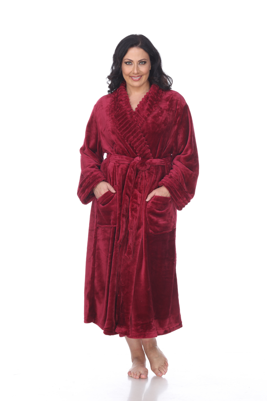 WhiteMark White Mark's Super Soft Plus Size Lounge Robe - Front Cropped Image