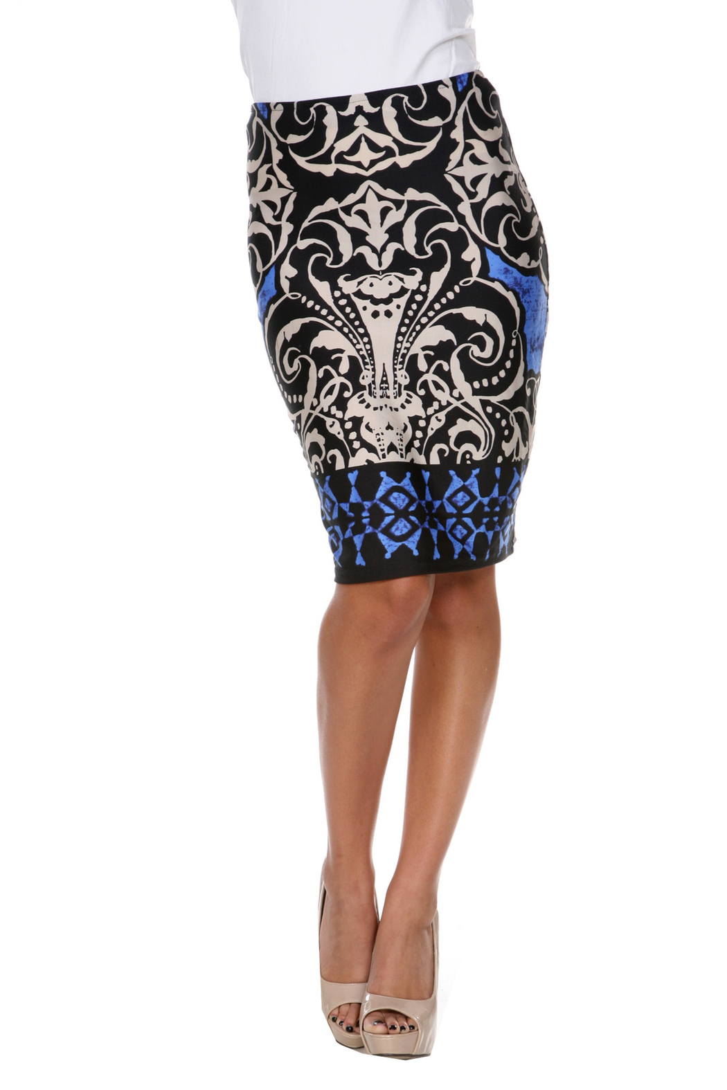 WhiteMark White Mark's Victorian Print Pencil Skirt - Front Cropped Image