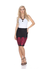 WhiteMark White Mark's Victorian Print Pencil Skirt - Front cropped