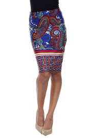 WhiteMark White Mark's Vintage Paisley Printed Pencil Skirt - Front cropped