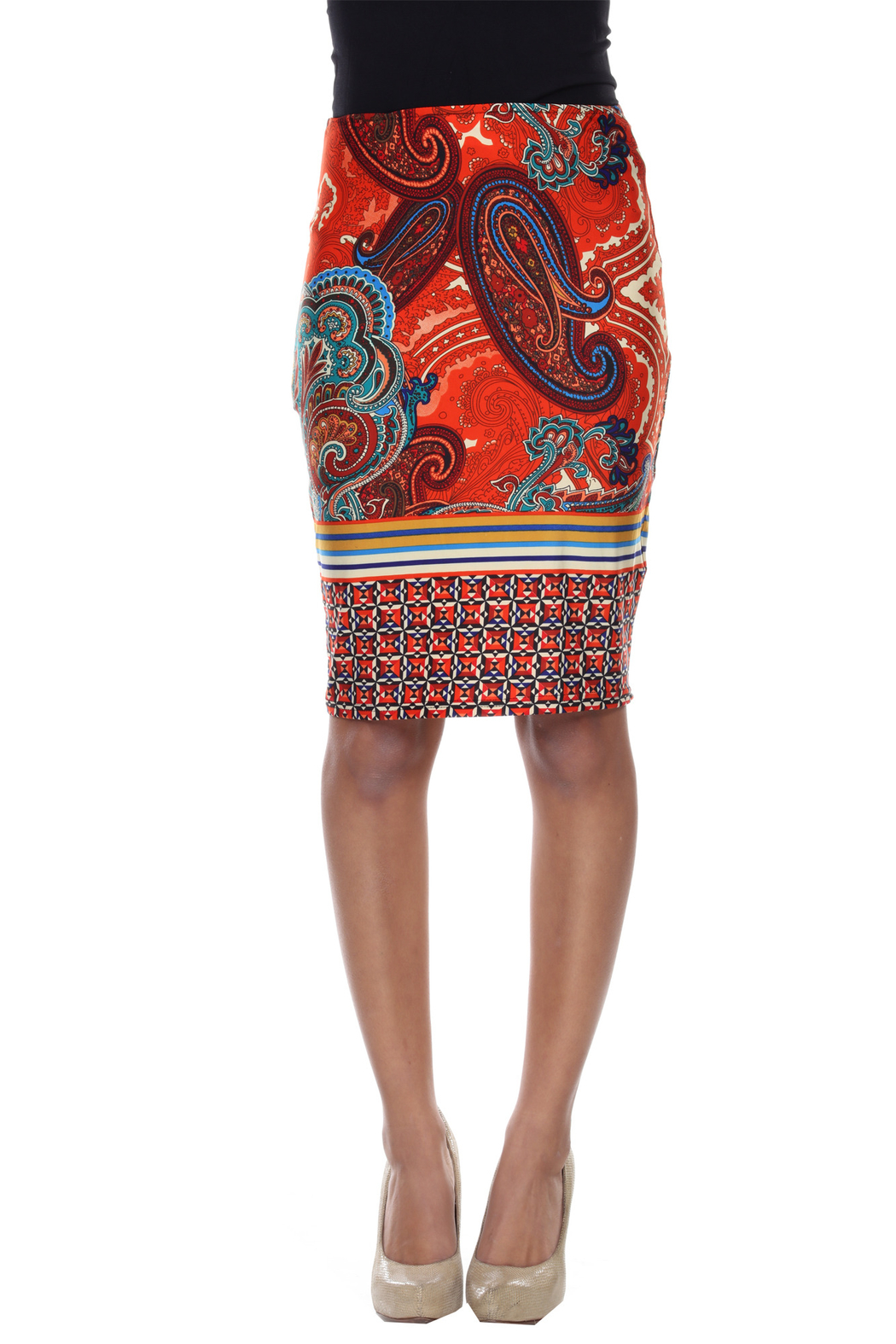 WhiteMark White Mark's Vintage Paisley Printed Pencil Skirt - Front Cropped Image