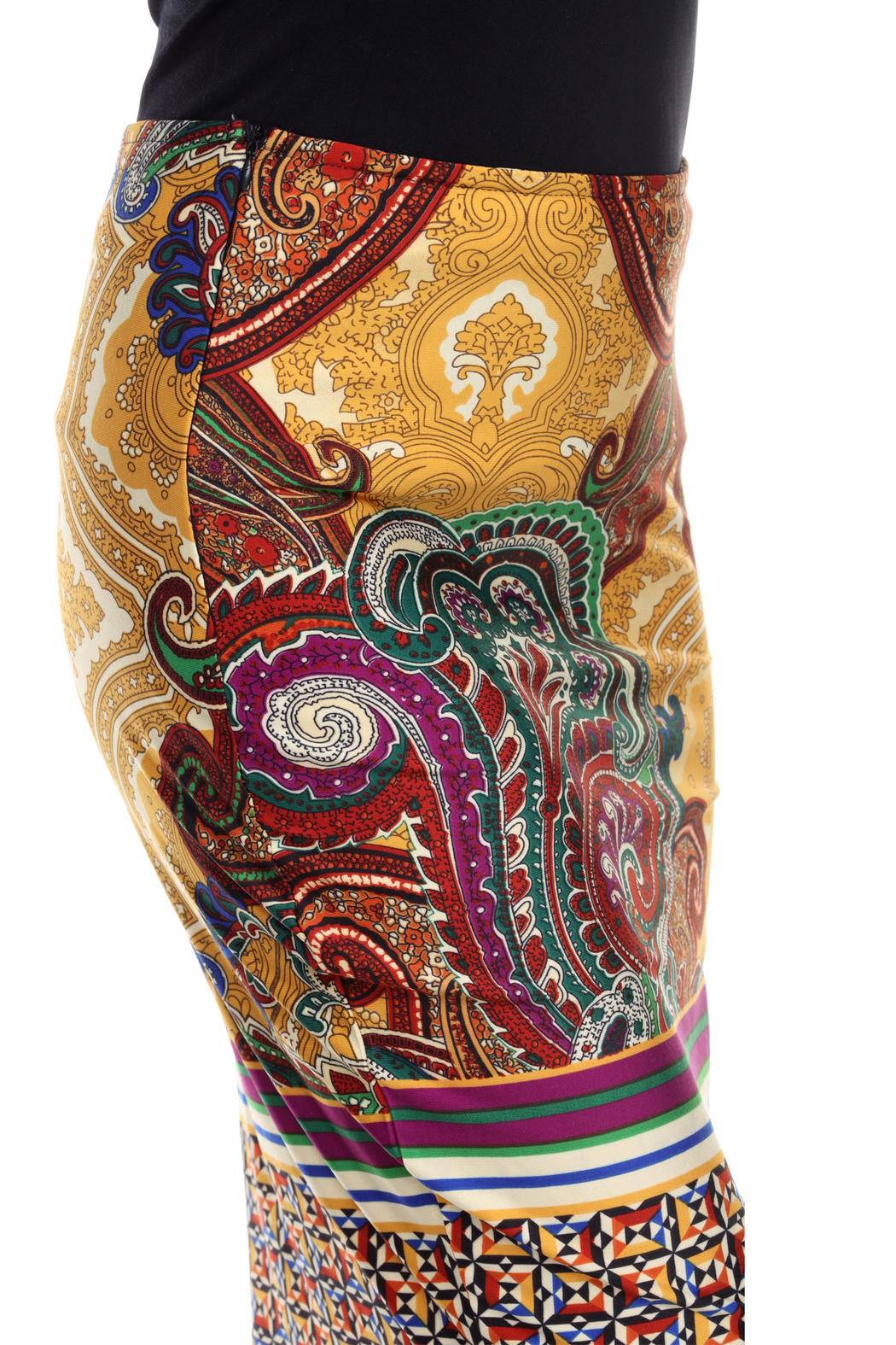 WhiteMark White Mark's Vintage Paisley Printed Pencil Skirt - Side Cropped Image