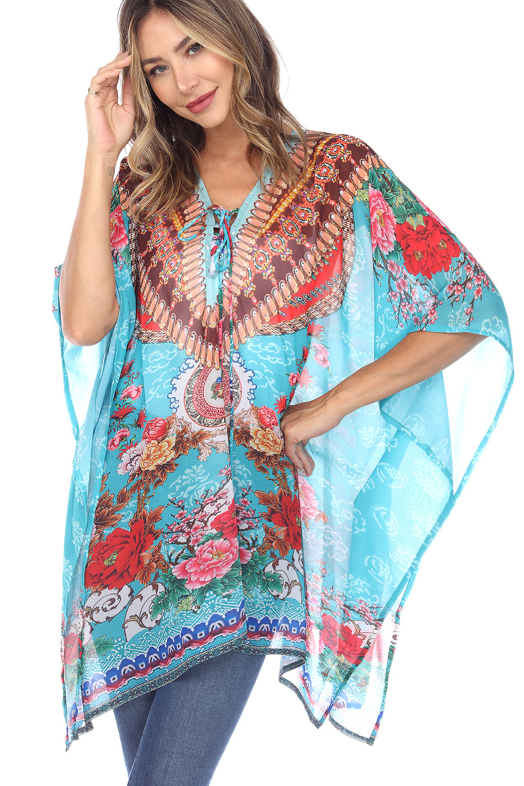 White Mark  Short Caftan with Tie-up Neckline - Front Cropped Image