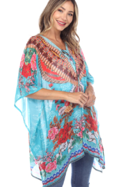 White Mark  Short Caftan with Tie-up Neckline - Front full body