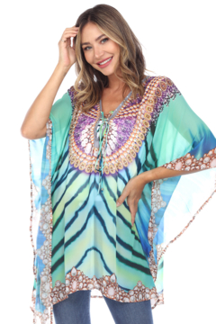 White Mark  Short Caftan with Tie-up Neckline - Product List Image