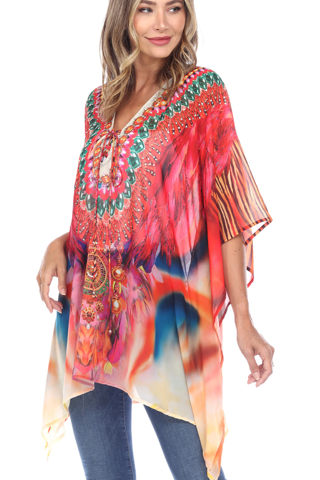 White Mark  Short Caftan with Tie-up Neckline - Back Cropped Image