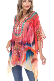 White Mark  Short Caftan with Tie-up Neckline - Back cropped