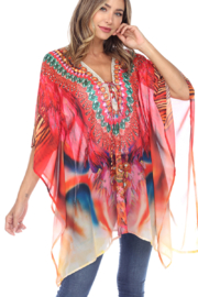 White Mark  Short Caftan with Tie-up Neckline - Front cropped